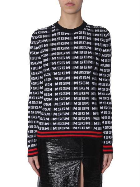 Msgm - Long Sleeved Sweater With Jacquard Logo