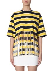MSGM - T-SHIRT A RIGHE CON FRANGE