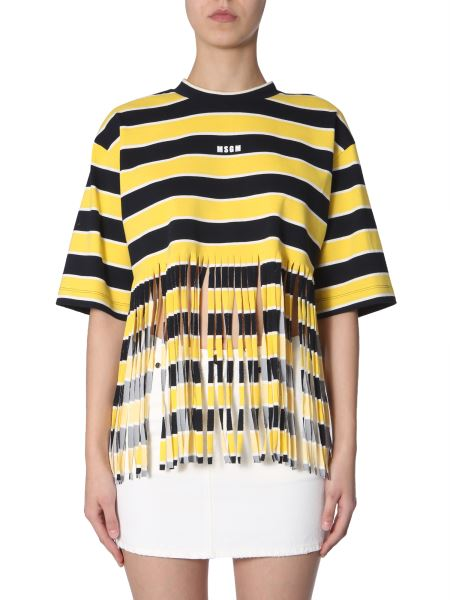 Msgm - Striped Cotton Striped T-shirt With Fringes