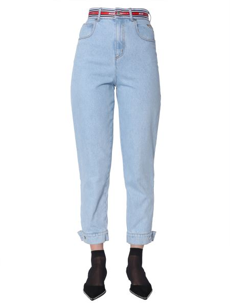 Msgm - High Waist Jeans With Logo Band