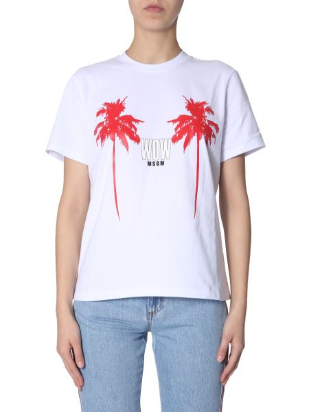 Msgm - Cotton T-shirt With Wow Print