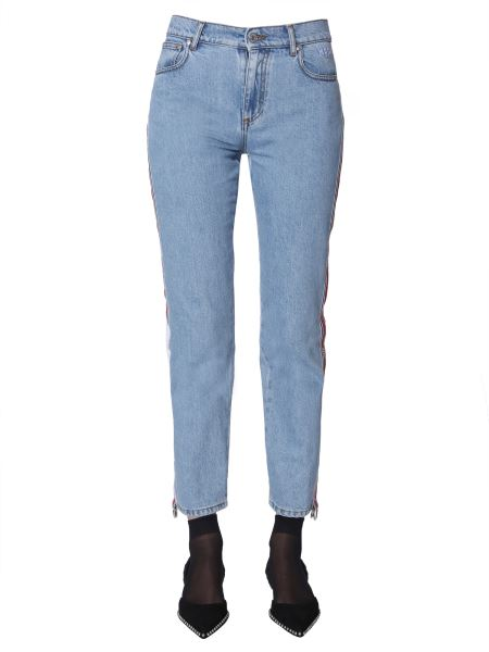Msgm - Slim Fit Jeans With Logo Side Bands