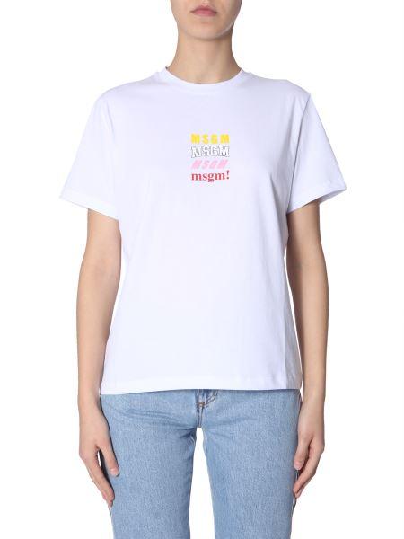 Msgm - T-shirt With Multi Logo Print