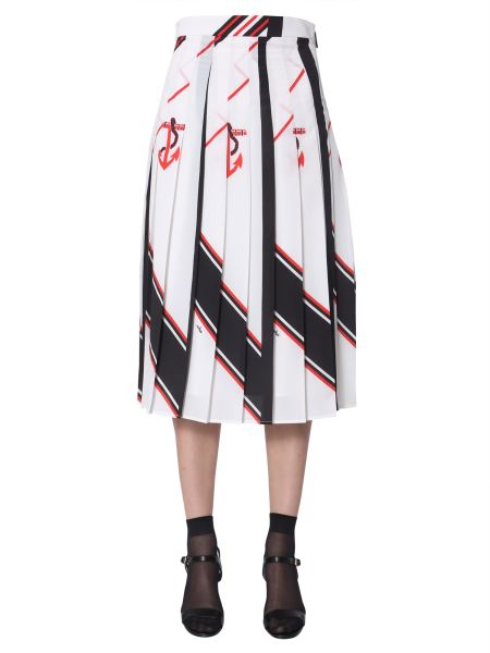Msgm - Pleated Skirt With Anchor Print