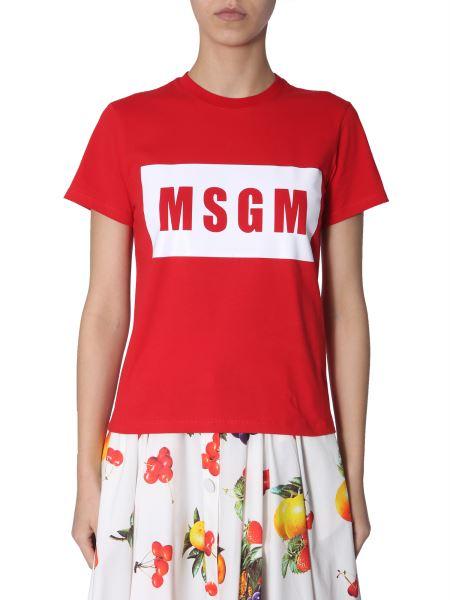 Msgm - Cotton T-shirt With Print Box Logo