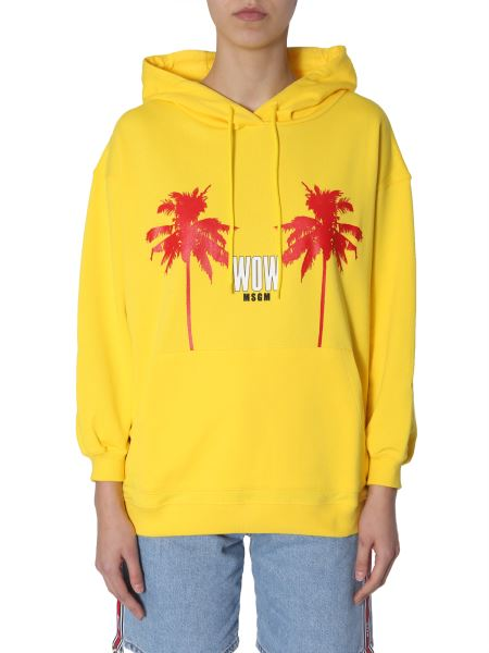 Msgm - Cotton Hooded Sweatshirt With Wow Print