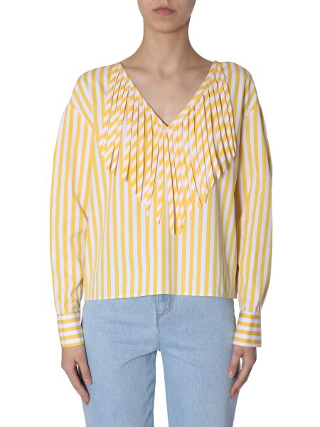 Msgm - Striped Cotton Blouse With Fringes