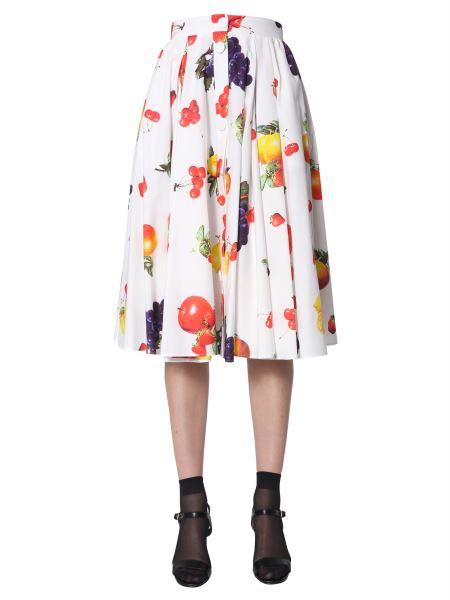 Msgm - Fruit Printed Skirt With Buttons
