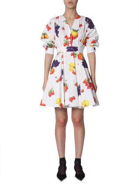 Msgm - Cotton Short Dress With Fruit Print