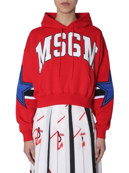 Msgm - Hooded Sweatshirt With Printed Logo