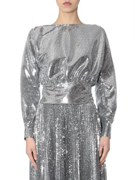Msgm - Sequined Blouse With Bow On The Back