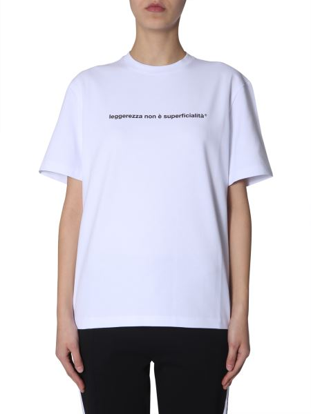 Msgm - Cotton Crew Neck T-shirt With Light Print