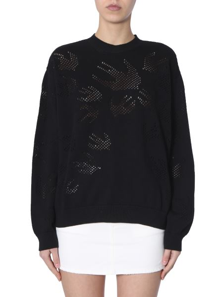 Mcq Alexander Mcqueen - Cotton Crew Neck Sweater With Perforated Swallow