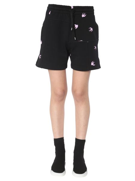 Mcq Alexander Mcqueen - Cotton Short With Swallow Print