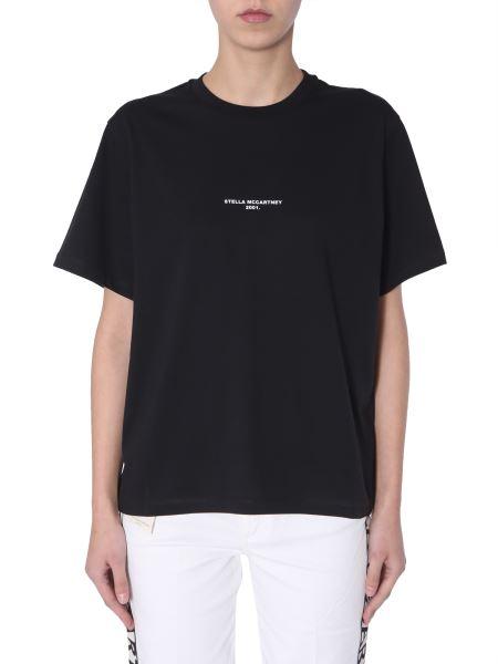 Stella Mccartney - T-shirt Girocollo In Cotone Con Stampa Micro Logo