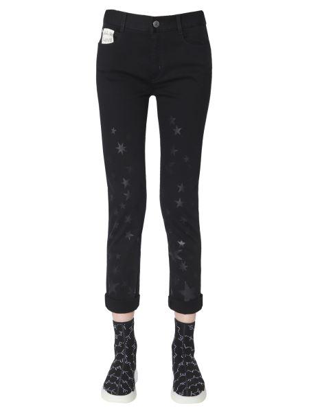 Stella Mccartney - Jeans Boyfriend In Denim Strech Con Stampa Stelle