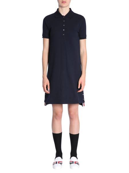Thom Browne - Cotton Piqué Polo Dress With Striped Retail Detail