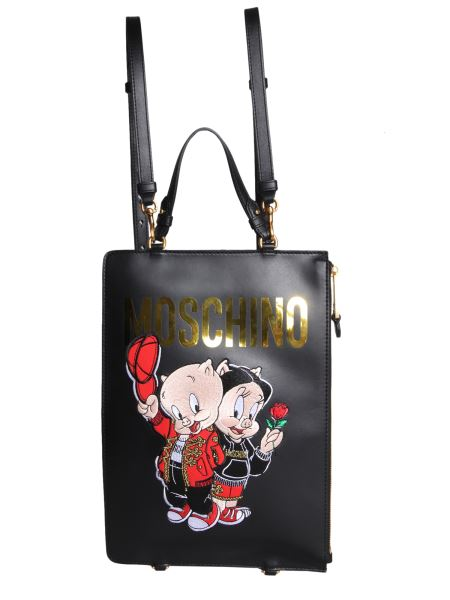 Moschino - Leather Backpack With Porky Pig Embroidery