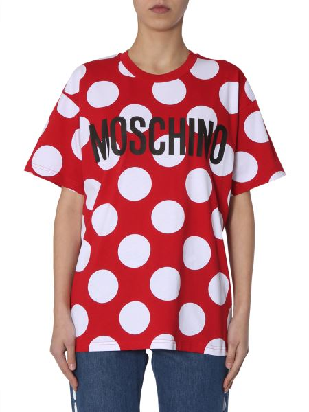 Moschino - Oversize Fit Cotton T-shirt With Polka Dots And Logo
