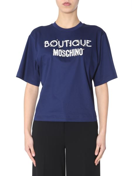 Boutique Moschino - Cotton Crew Neck T-shirt With Printed Logo