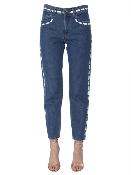 Moschino - High Waist Jeans With Brushed Stitches