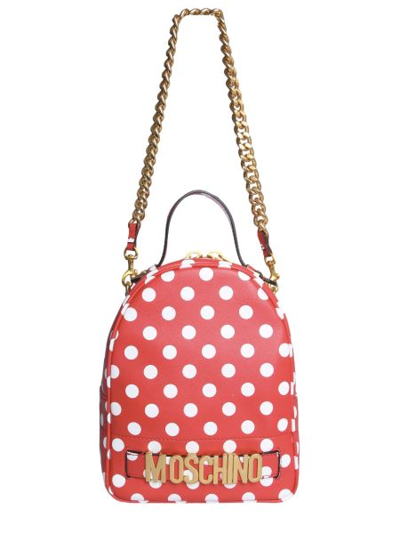 Moschino - Polka Dot Leather Backpack With Logo And Chain