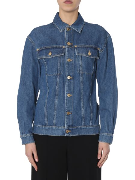 Moschino - Denim Jacket With Teddy Bear Embroidered In Paillettes