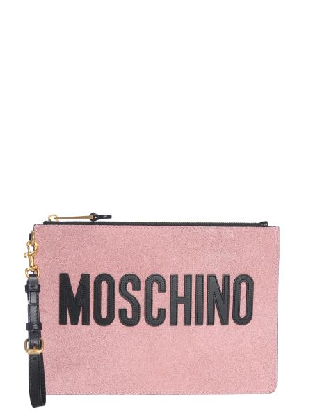 Moschino - Glitter Leather Pouch With Logo