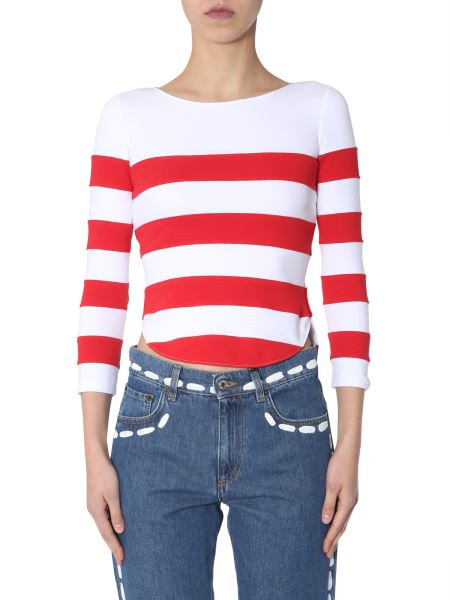 Moschino - Long Sleeves In Striped Cotton T-shirts