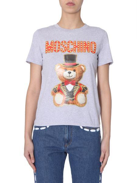 Moschino - T-shirt Girocollo In Cotone Con Stampa Teddy Bear Circus