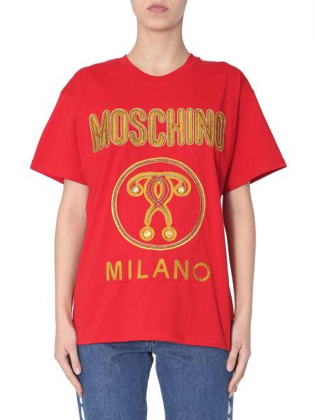Moschino - T-shirt Girocollo In Cotone Con Ricamo Logo