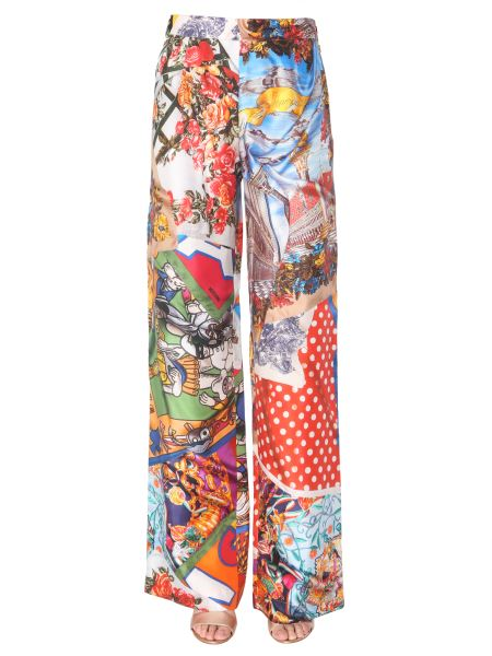 Moschino - Silk Trousers With Patchwork Print