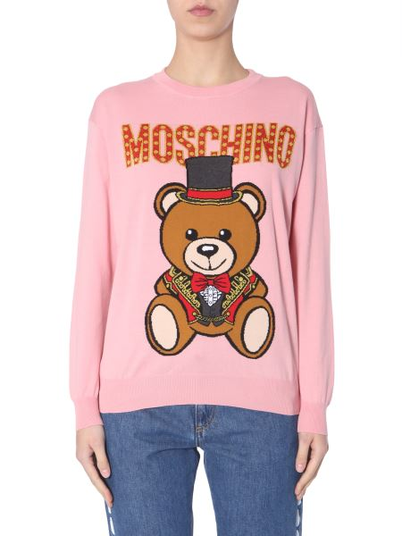 Moschino - Wool Sweater With Teddy Bear Circus Inlay