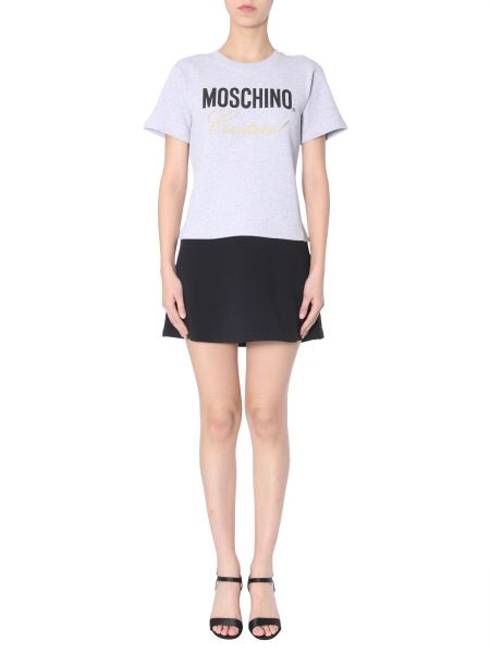 Moschino - Cotton Fleece Dress With Logo Print