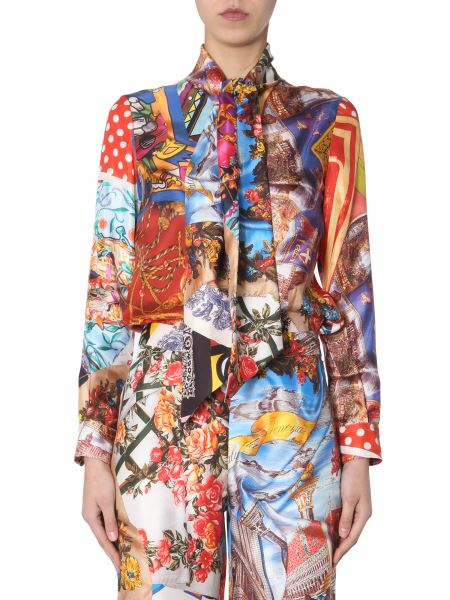 Moschino - Shirt In Silk Print Patchwork With Foulard