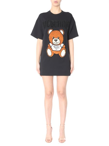 Moschino - Cotton Fleece Dress With Sequined Teddy Bear