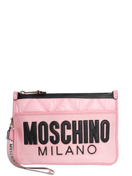 Moschino - Nylon Quilted Clutch With Logo