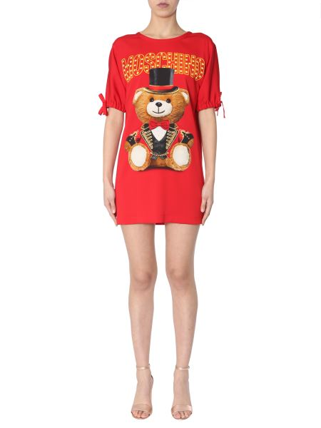 Moschino - Satin Dress With Teddy Bear Circus Print