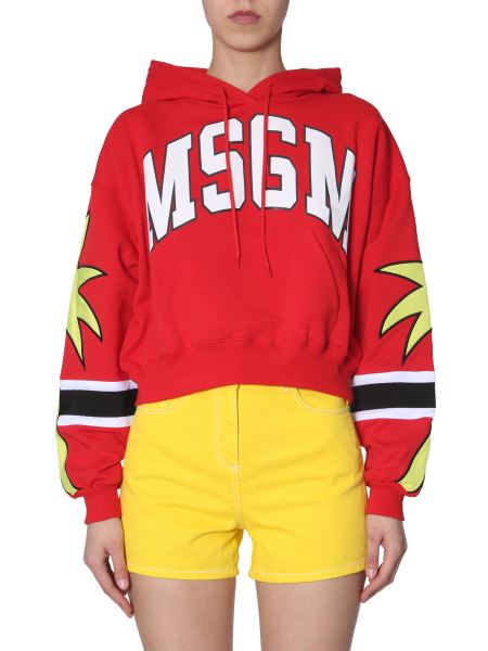 Msgm - Cotton Hooded Sweatshirt With Print