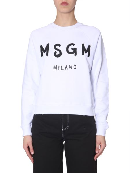 Msgm - Crew Neck Sweatshirt With Brushed Logo