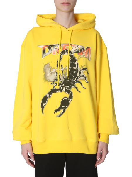 Msgm - Oversize Fit Cotton Hooded Sweater With Scorpio Print