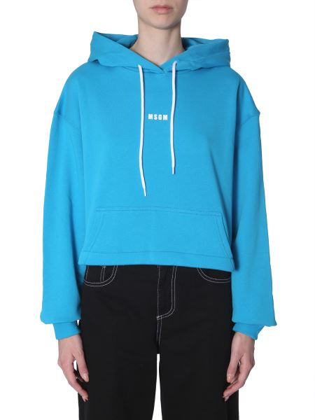 Msgm - Cropped Cotton Hooded Sweatshirt With Micro Logo Print