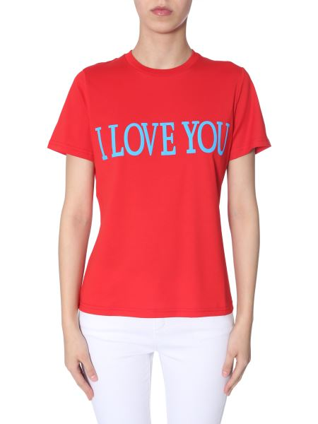 "Alberta Ferretti - ""i Love You""-print Cotton Slim T-shirt"