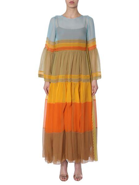 Alberta Ferretti - Colour-block Silk-chiffon Maxi Dress