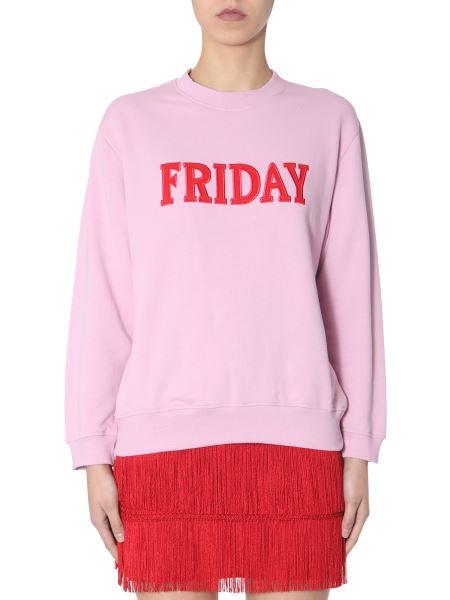 "Alberta Ferretti - Cotton Crew Neck Sweatshirt With ""friday"" Embroidery"