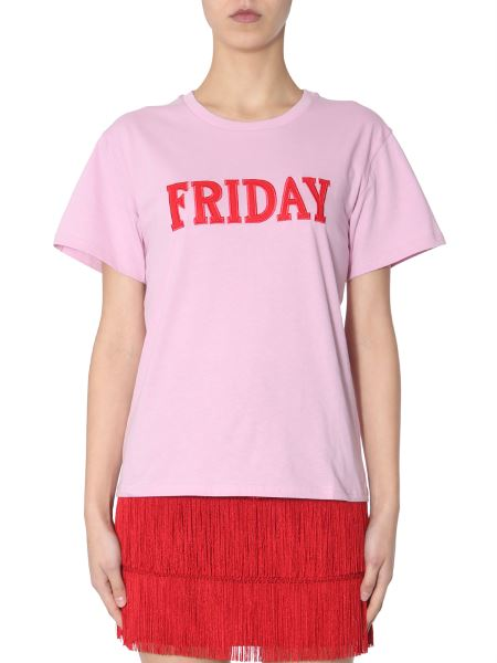 "Alberta Ferretti - Cotton Crew Neck T-shirt With ""friday"" Embroidery"