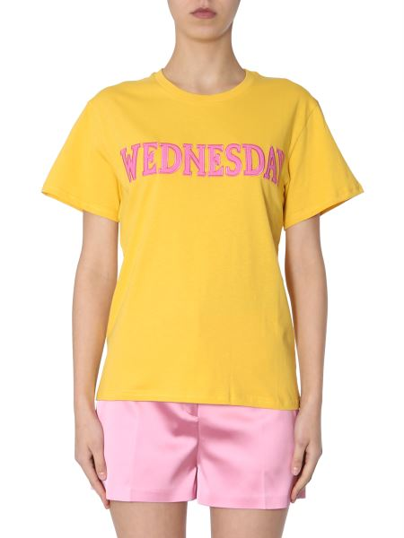 """Alberta Ferretti - Cotton T-shirt With """"wednesday"""" Embroidery"""