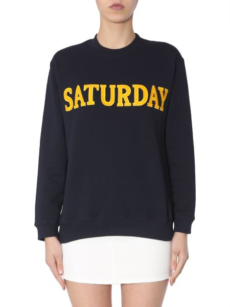 "Alberta Ferretti - Cotton Sweatshirt With ""saturday"" Embroidery"