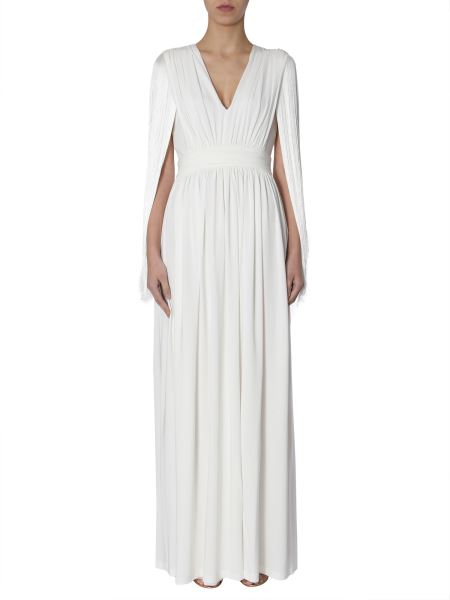 Alberta Ferretti - Long Dress With Fringes On The Sleeves