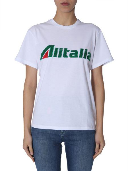 """Alberta Ferretti - Cotton Jersey T-shirt With """"alitalia"""" Embroidery"""